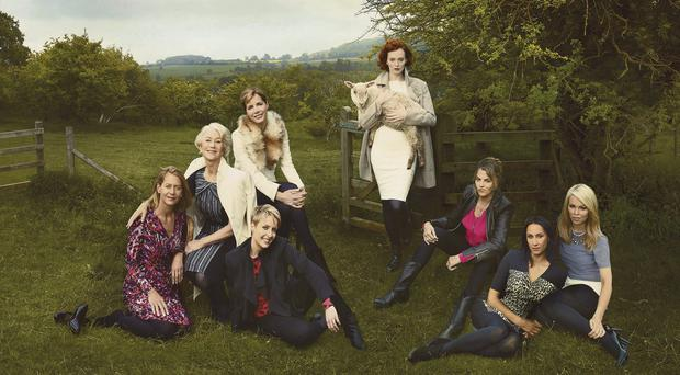 A still from the Marks & Spencer advert featuring (left to right) Jasmine Whitbread, Dame Helen Mirren, Darcy Bussell, Helen Allen, Karen Elson, Tracey Emin, Monica Ali, Katie Piper.