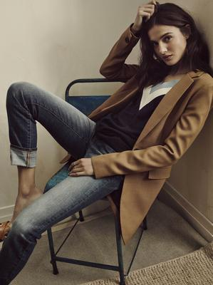 Jacket, £65, jumper, £18, jeans, £26, all from Next