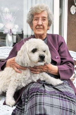Noreen, who has praised the Rosie's Trust volunteers for helping her with her dog Snowy