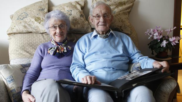 Arctic convoy verteran Philip Ball at home in Templepatrick with his wife Jackie. Photo: Peter Morrison