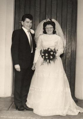 George Robinson with his wife Ann, on their wedding day over 50 years ago