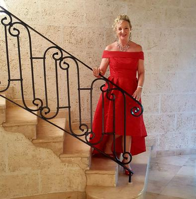 Red alert: Joyce before a night out in Barbados