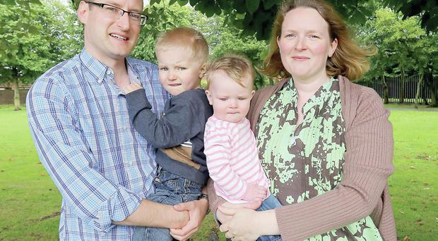 Under pressure: Stephen and Joanne Fleck found looking after children Ethan and Anne meant they didn't talk to each other as much