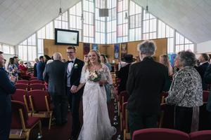 Happy day: Matthew and Bronte following their wedding ceremony