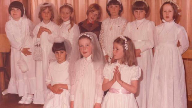Sinead (front row, centre) on the day of her First Holy Communion