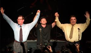 From left, David Trimble, Bono and John Hume promoting the Good Friday Agreement in 1998