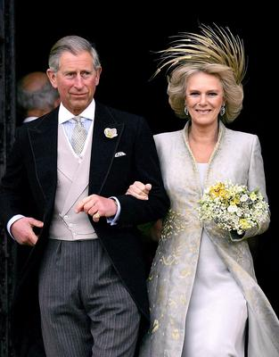Charles and Camilla leaving the chapel after their wedding blessing