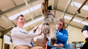 Simon Darby, CLIC Sargent social worker with Leighann Hickinson, who underwent treatment for cancer and took part in donkey-assisted therapy