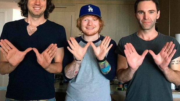 Gary Lightbody and Johnny with Ed Sheeran (centre)