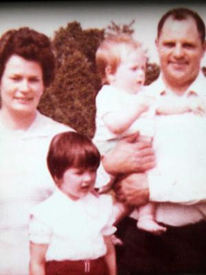 SDLP councillor Denise Mullen as a little girl with her mother Olive, brother Edward and father Denis