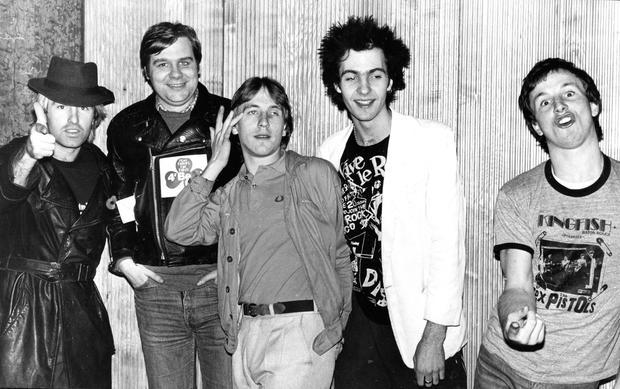 Hooley with punk band The New Sex Pistols in Belfast in 1979