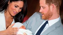First-time parents: Harry and Meghan with newborn son Archie Harrison