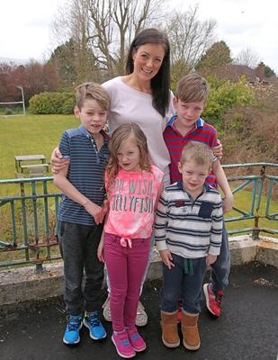 Close family: Kim Constable with children Kai, Maya, Jack and Corey