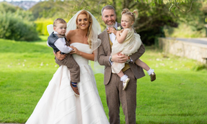 Bronagh and Thomas Burke on their wedding day with twins Adam and Aoife