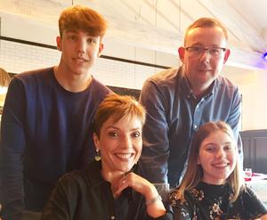 With husband Peter and their two children, George and Imogen