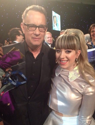 Leah with actor Tom Hanks