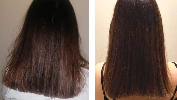 Air raising: from left, Sophie Goodall's hair before and after using the RevAir Reverse Air Dryer
