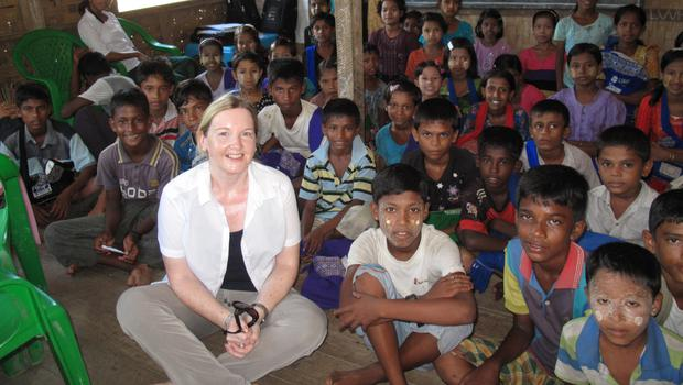 Faith in action: Rosamond Bennett, seen here in Myanmar, is asking local people to support Christian Aid Week to help the charity continue its work