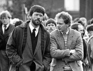 Adams in 1987 with Martin McGuinness at the funeral of Patrick Kelly, reputed IRA commander in east Tyrone