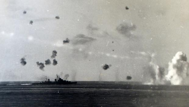 Philip Ball's Arctic convoy coming under attack from German ships.