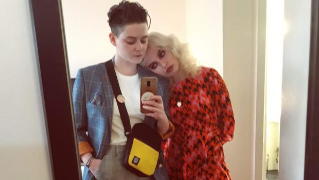 Loved up: Susie Blue and her fiancée Audrey