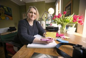 Dedicated artist: Maria McManus working at home on the art to mark Poetry Day Ireland 2018