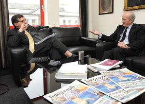 Memorable moments: Liam interviewing the chair of the Press Complaints Commission Lord Hunt