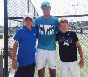 Harry and Johnny McCracken with hero Rafael Nadal earlier this year