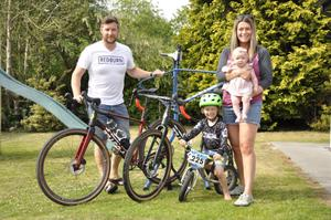 New invention: Alastair and Julie Beckett with son Josh, daughter Emily and their new bike
