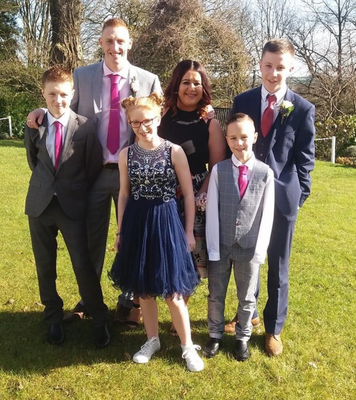 Panic attacks: Ashley Armstrong with partner Edward, Carter (15), Mark (15, back) Aaron (11) and Sophie (14)