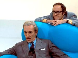 James Burke with fellow presenter Raymond Baxter on the television show Tomorrow's World