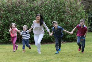 Alternative life: Kim and her kids enjoy some outdoor fun