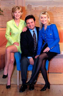 Anthea with fellow GMTV presenters Eamonn Holmes and Fiona Phillips