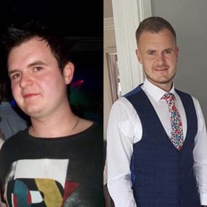 Connor before and after he lost weight, going from 20 stone to 12 stone