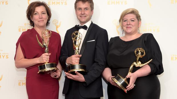 Nina Gold (left), Robert Sterne and Carla with their Emmy Awards for Outstanding Casting for a Drama Series for Game of Thrones in 2015