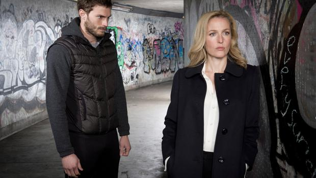 Jamie with Gillian Anderson in the thriller The Fall