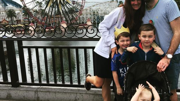 Aly on a Disney holiday with with husband Michael and three sons Elijah (10), Tobias (8) and Abraham