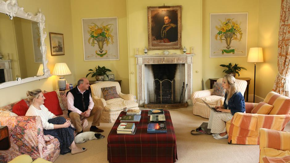 Lord and Lady Erne talking to Belfast Telegraph reporter Claire O'Boyle