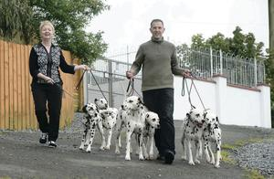 Danny and and Annette Gamble with their dalmatians