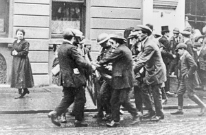 A casualty is carried away during the Irish War of Independence in Dublin  (Photo by Sean Sexton/Getty Images)
