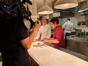 Clare Smyth with Rita Fitzgerald in the kitchen