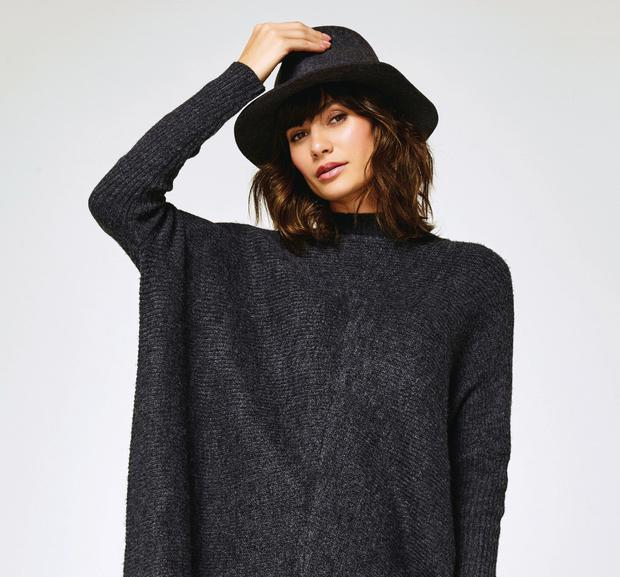 Charcoal fedora hat, £22, jumper, £29, M&Co