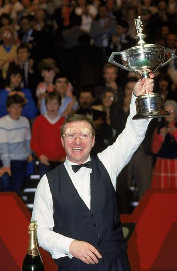 Dennis Taylor after winning in 1985