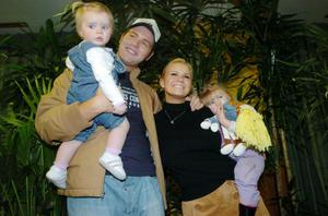 First marriage: Brian McFadden with former wife Kerry Katona and their children Molly and Lilly-Sue