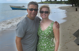 Changing times: Heather Beaumont and her husband Gary on holiday