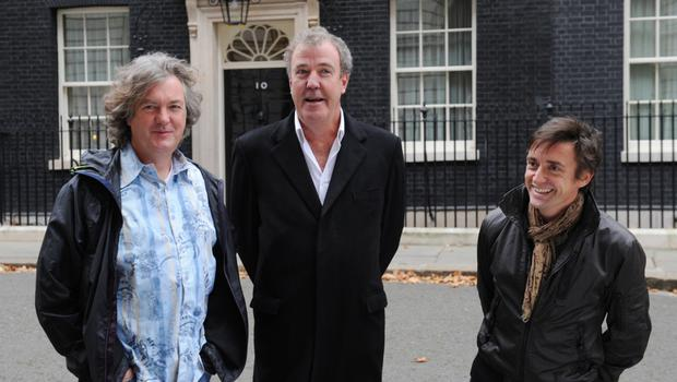 Presenters of the television car show Top Gear from left James May, Jeremy Clarkson and Richard Hammond