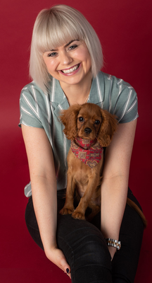 Stephanie McGall with her rescue puppy ruby cavalier Thea