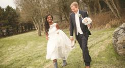 Andile and Matthew on their wedding day