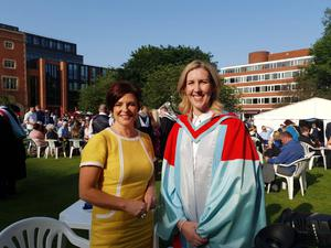 Clare Smyth with Rita at Queen's University
