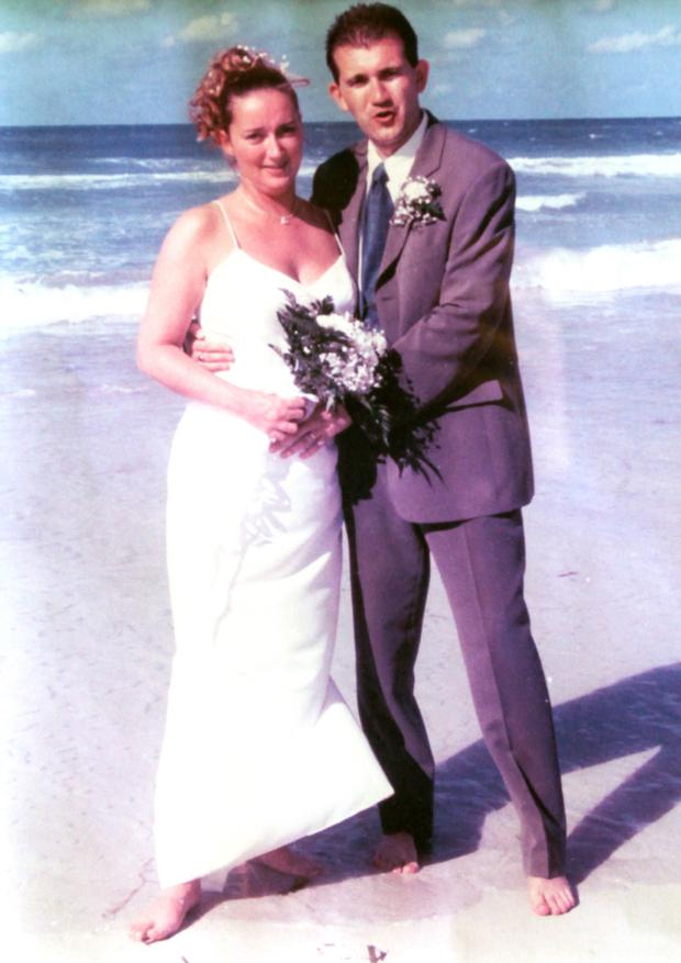 Strong bond: Steve with wife Denise on their wedding day